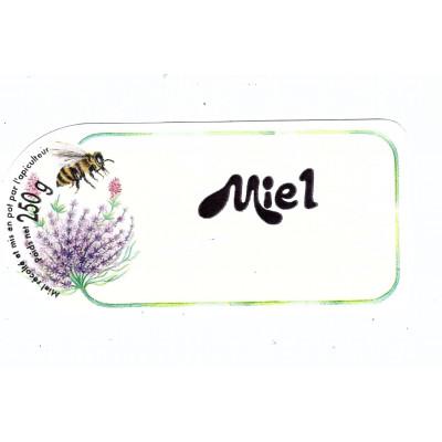 """Etiquette fleurs et abeilles """"Miel"""", le cent"""